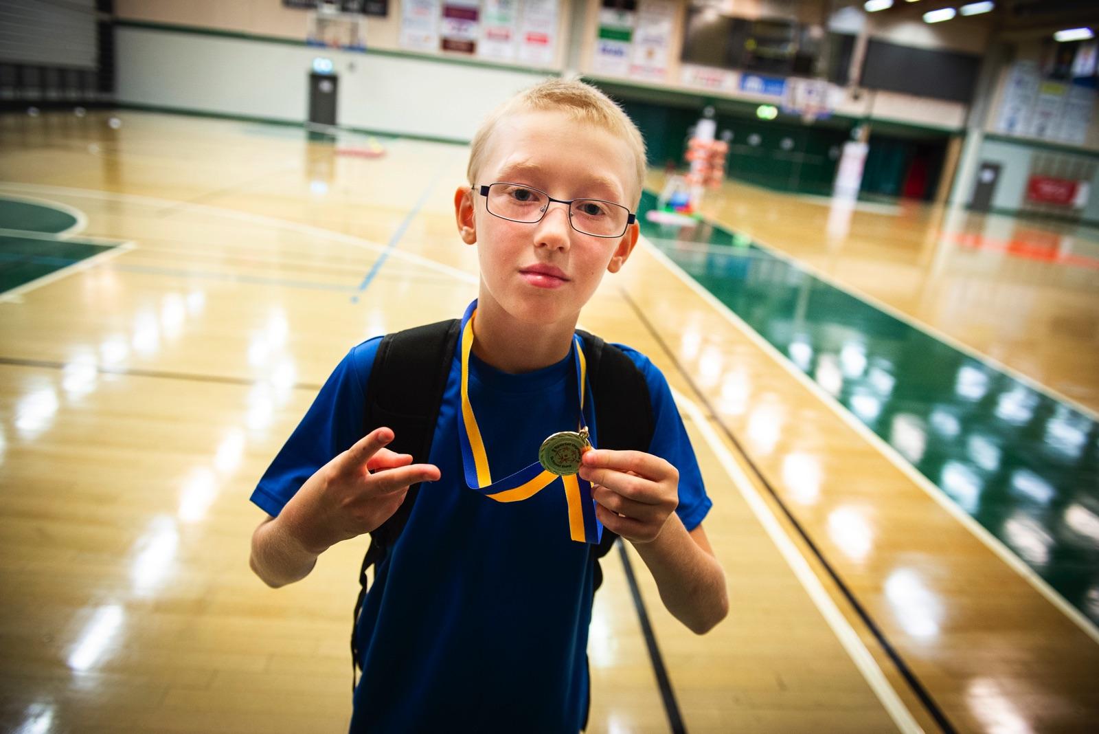 Johnny Juslin trivdes på Special Olympics School Day i Södertälje.