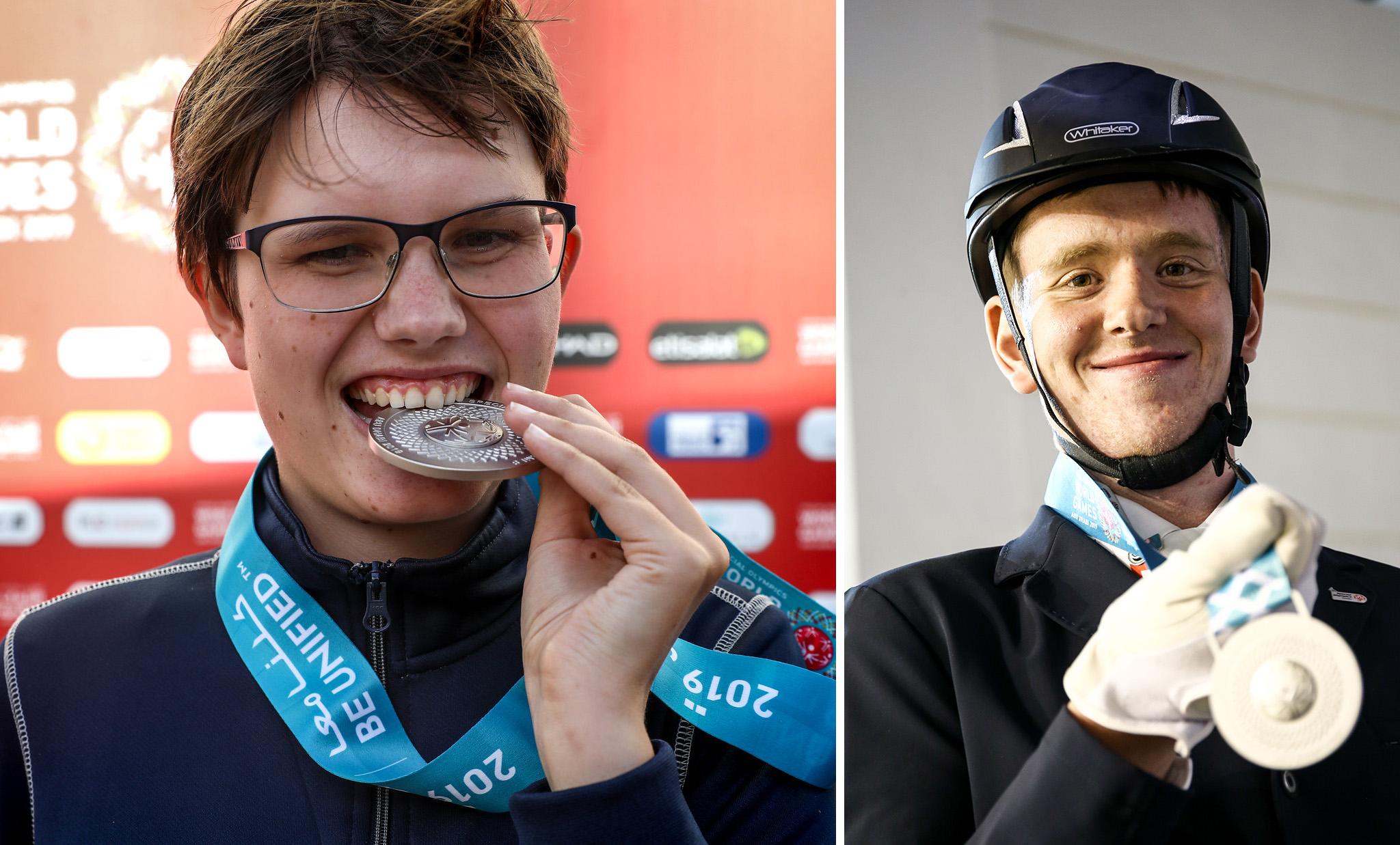 Ryttarna Rebecka Mårtensson och Jimmy Andersson hyllas på Friends Arena för sina insatser på Special Olympics World Summer Games i Abu Dhabi.
