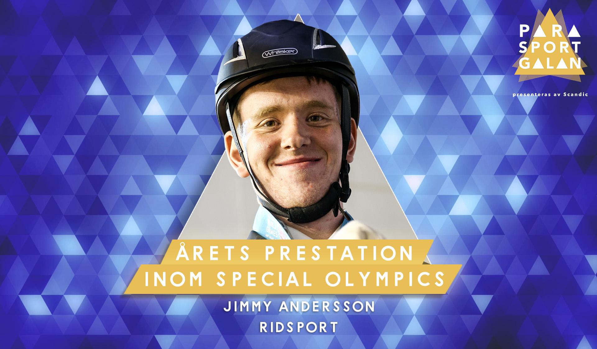 Jimmy Andersson vann Årets prestation inom Special Olympics på Parasportgalan 2020.