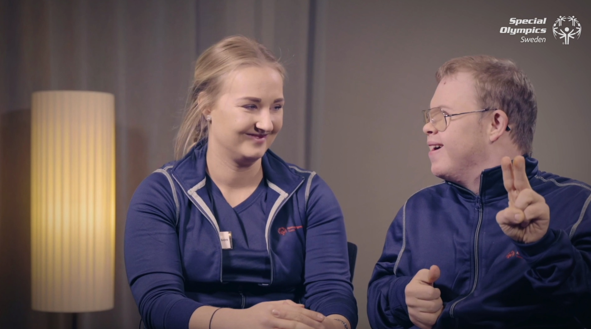 Erika Nylund och Jesper Eriksson Nylund, mentor respektive ambassadör för Special Olympics Sverige.