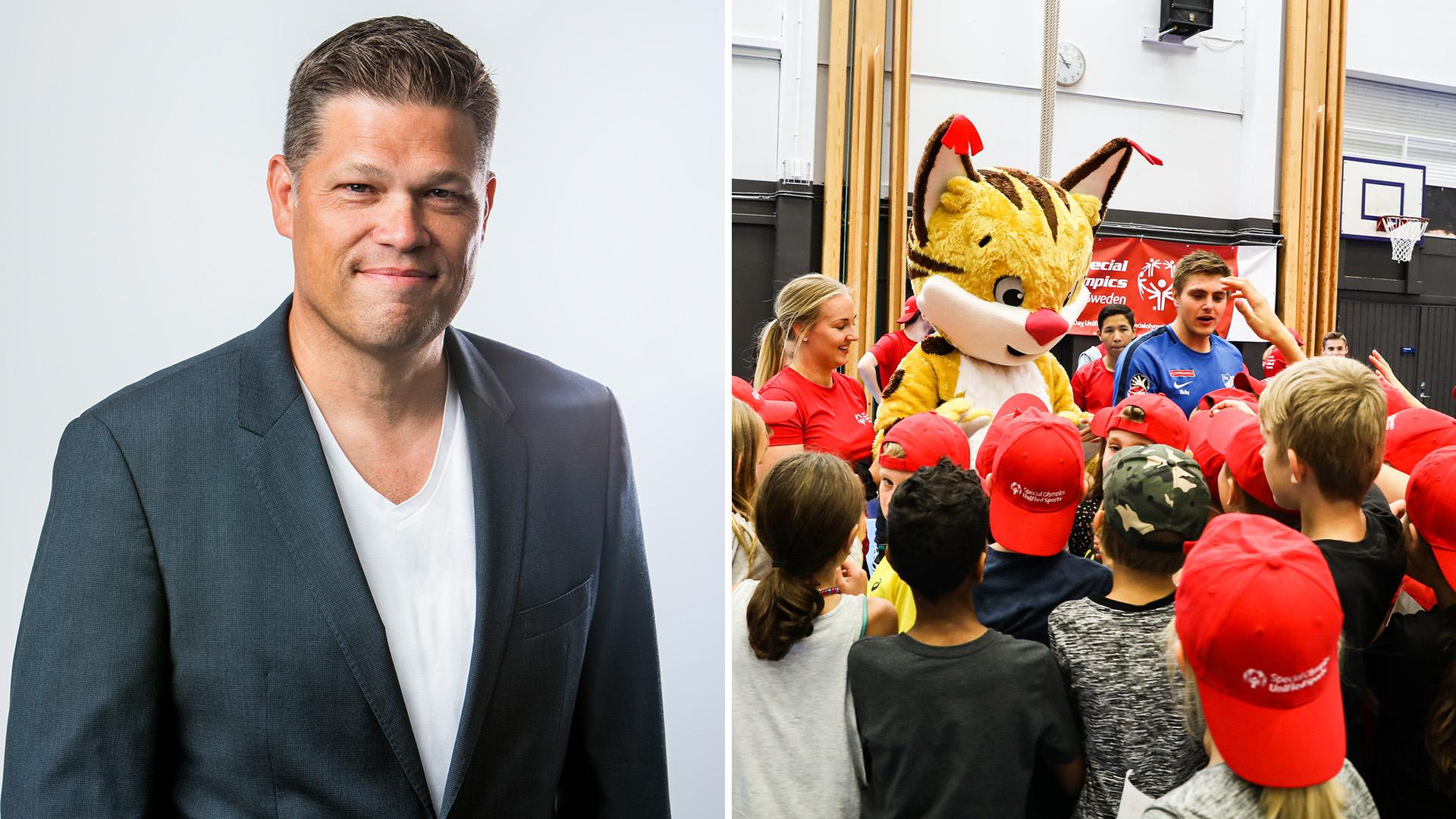 Johan Glennmo, vd för familjeföretaget Danir som äger Sigma, bredvid en bild från Special Olympics School Day i Botkyrka 2019.