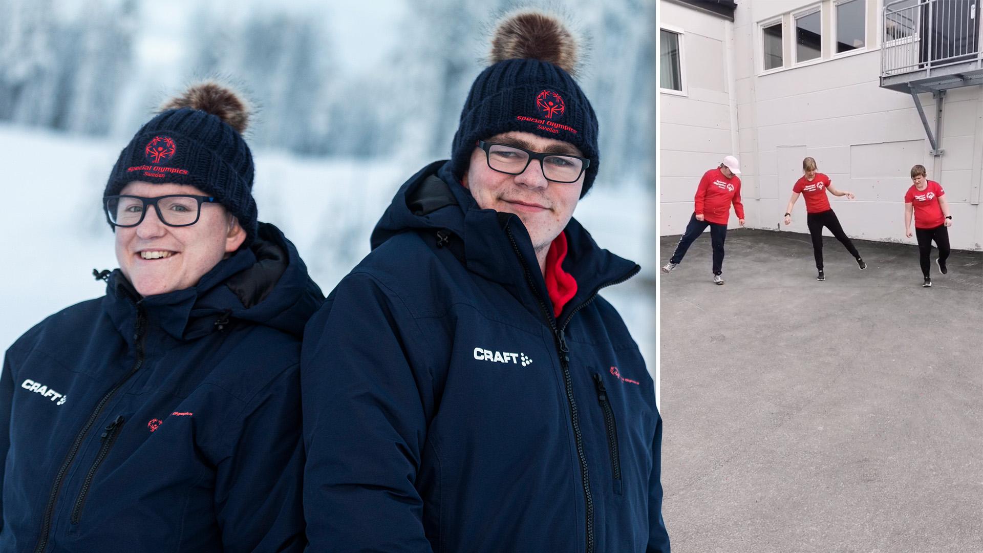 Den stora bilden visar Eva Dahlberg och Henrik Berglund iklädda vinterkläder och toppluvor i ett snöigt landskap. Den lilla bilden till höger visar när de gympar tillsammans med Johanna Oskarsson.