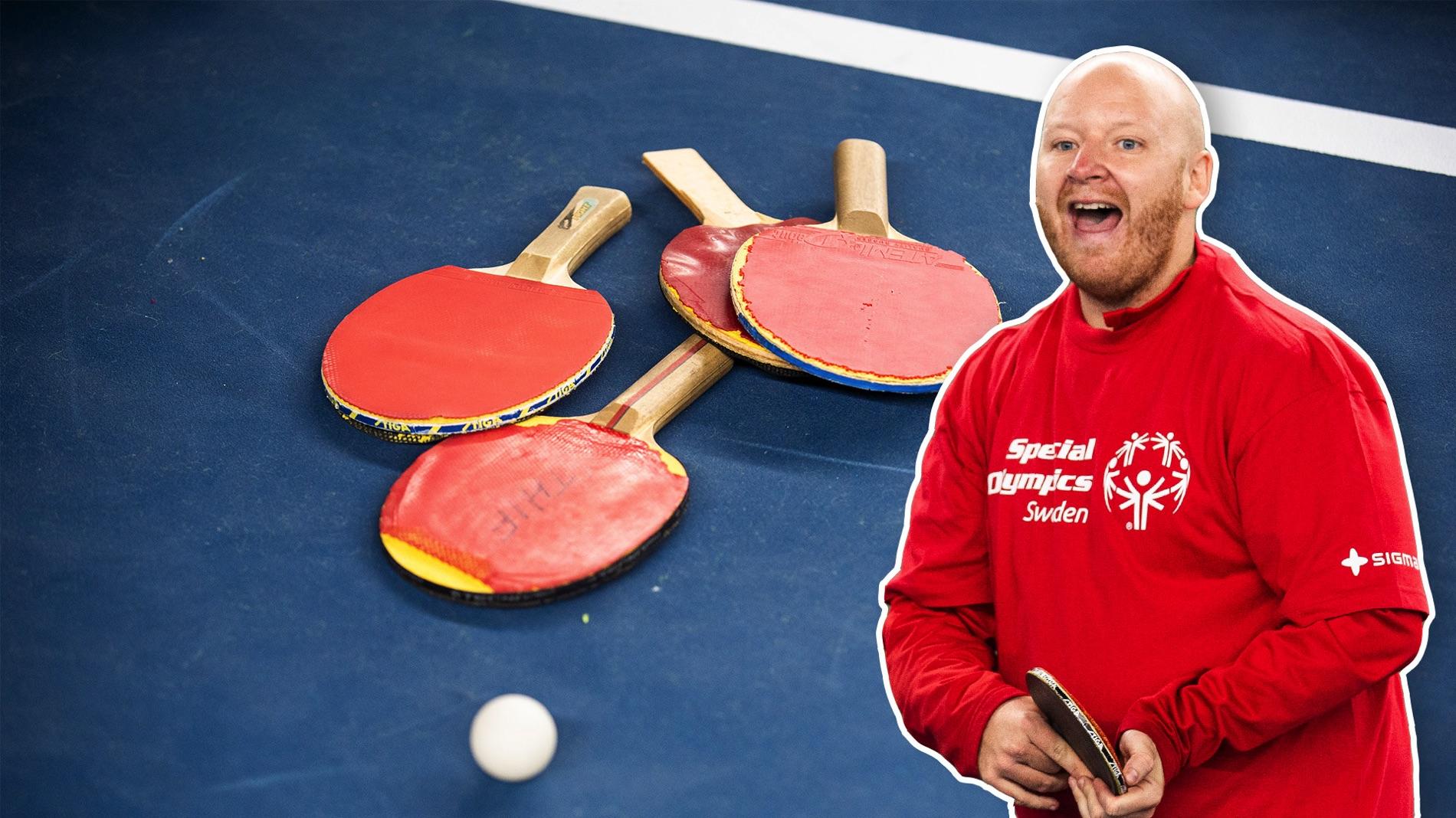 I bildmontaget syns den frilagda bordtennisledaren Christoffer Pettersson med ett rack i handen. Bakom honom syns en bild på fyra rack och en boll på ett bordtennisbord.